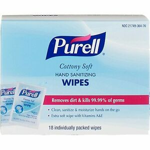 Details about 2 Pack Purell Cottony Soft Hand Sanitizing Wipes, 18 Ct