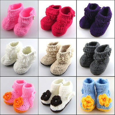 Baby Newborn Girl Infant Soft Warm Socks Crib Casual Crochet Knit Boots Shoes