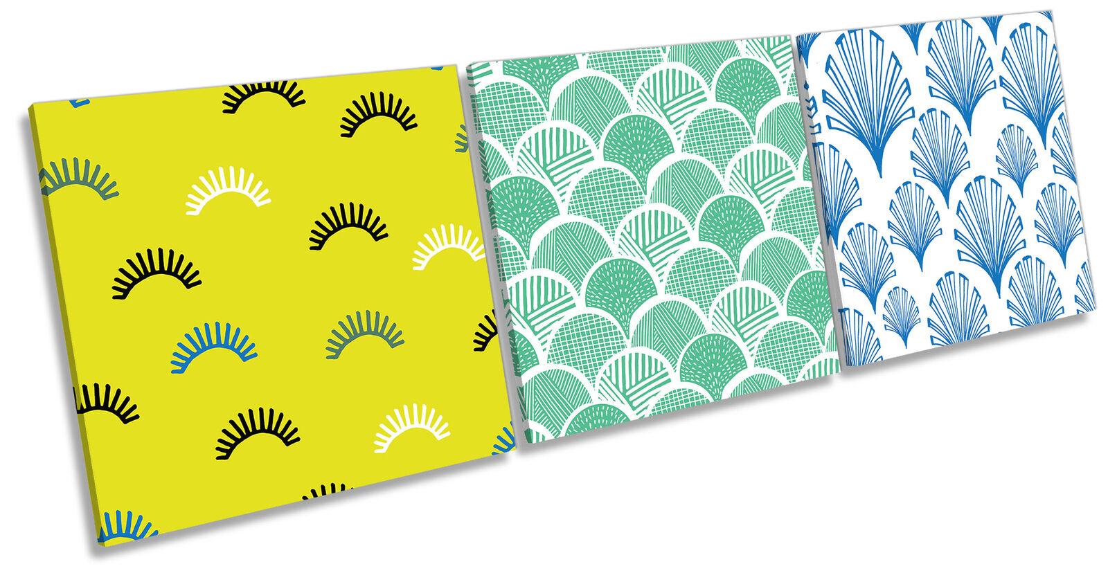 Modern Scale Pattern Set of 3 CANVAS WALL ART Print Treble Multi-Colourot