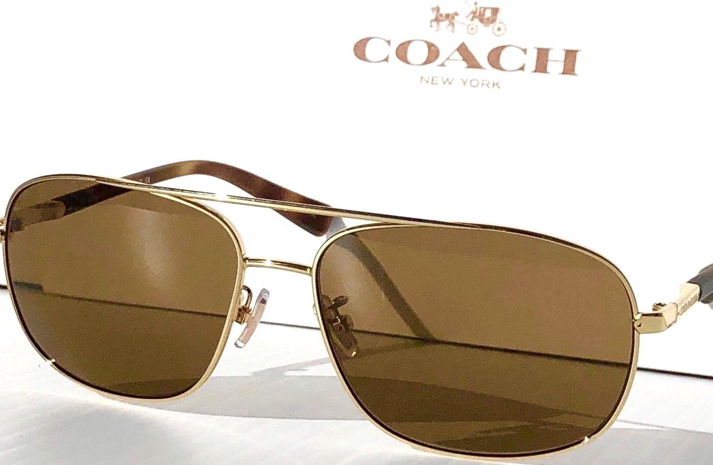 8b16181107 Coach Aviator Squared L812 Gold Matte Tortoise Lens Sunglasses HC ...