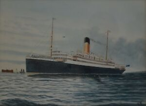 Gouache-of-Megantic-Cruise-Liner-Ship-Leaving-Port-Signed-with-Monogram-GR