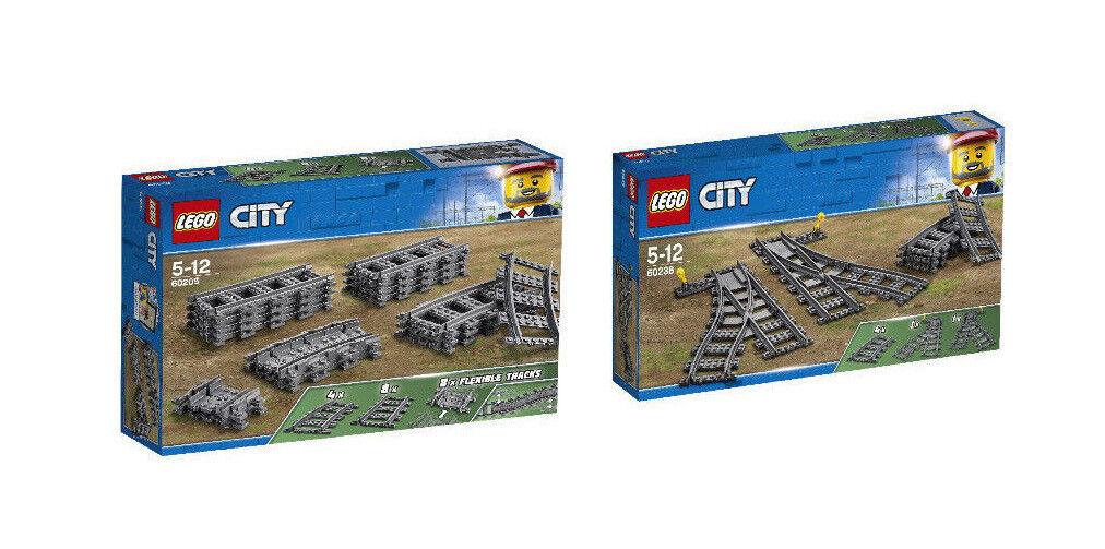Lego City Ferrovia Set 60205+ Set 60238 Binari, Curva Flex e Scambi