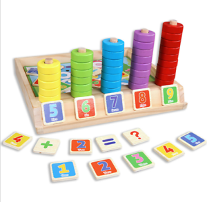 Kids Count & MATCH chiffres en bois Compter Maths Educational Puzzle Enfants Jouet