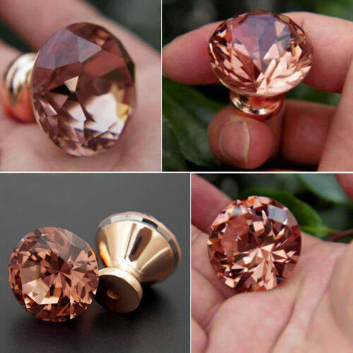 12PCS Door Handle Diamond Rose Gold Clear Glass Cabinet Drawer Pull Knobs Home