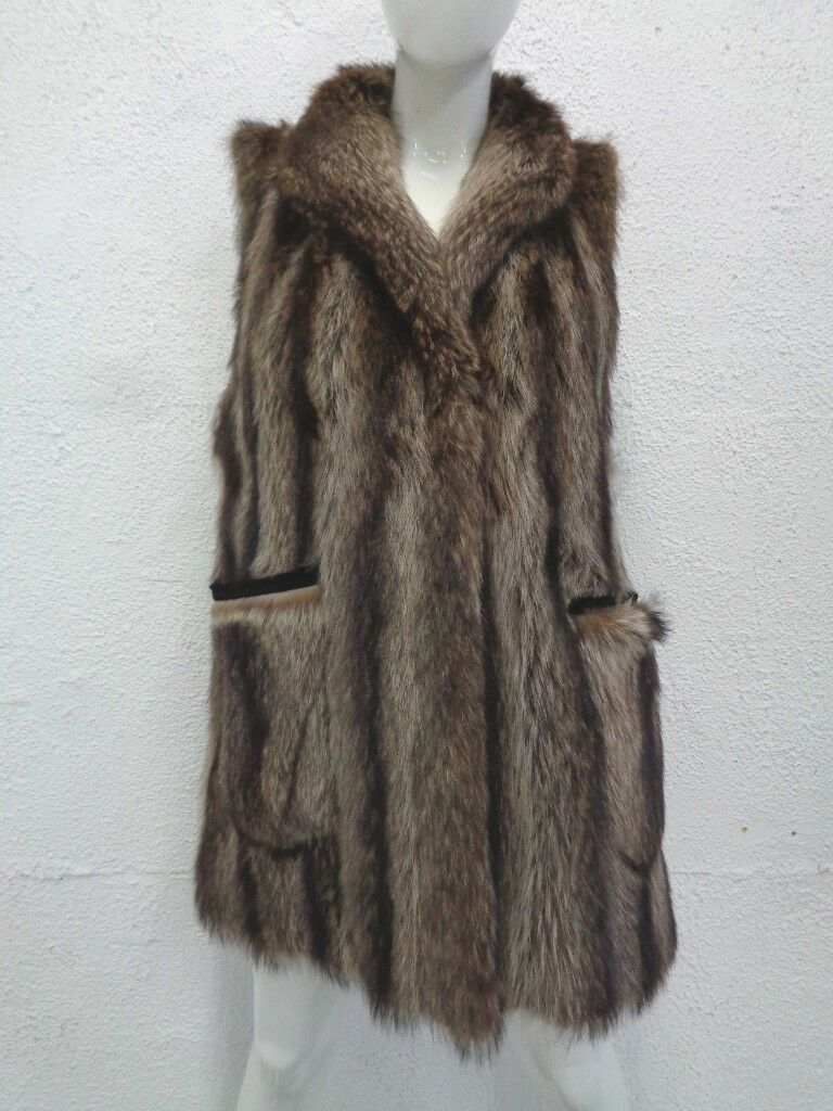 EXCELLENT NATURAL RACCOON RACOON FUR VEST WOMEN WOMAN SIZE 6-8 SMALL-MEDIUM