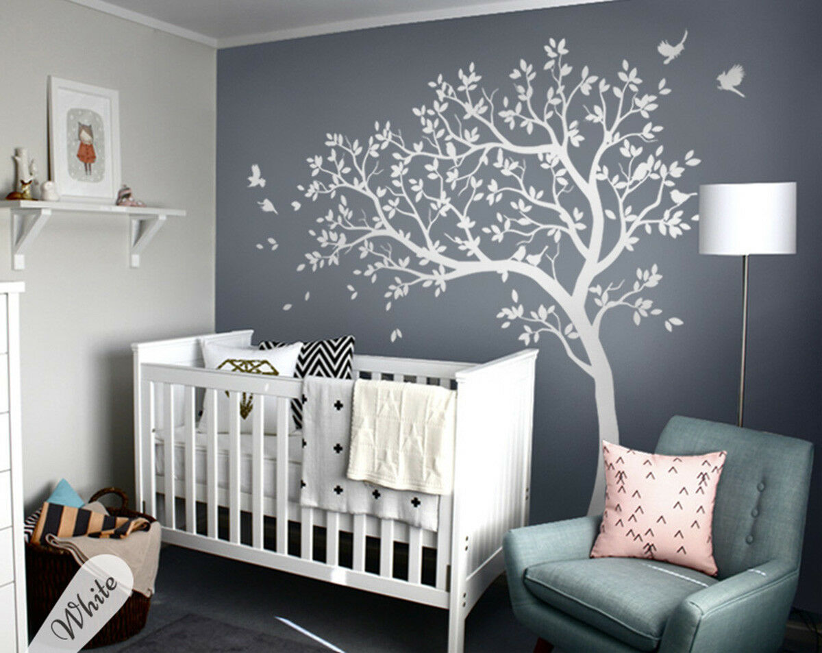 Details zu Large white tree wall decal set for baby nursery tree wall  sticker tattoo KW28