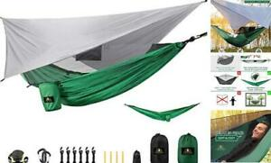 Camping Hammock Set with Rain Fly and Mosquito Bug Net, Portable Dark Green