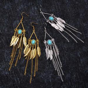 Women-Gold-Plated-Turquoise-Long-Earrings-Dangle-Ear-Drop-Tassel-Hook-Jewelry