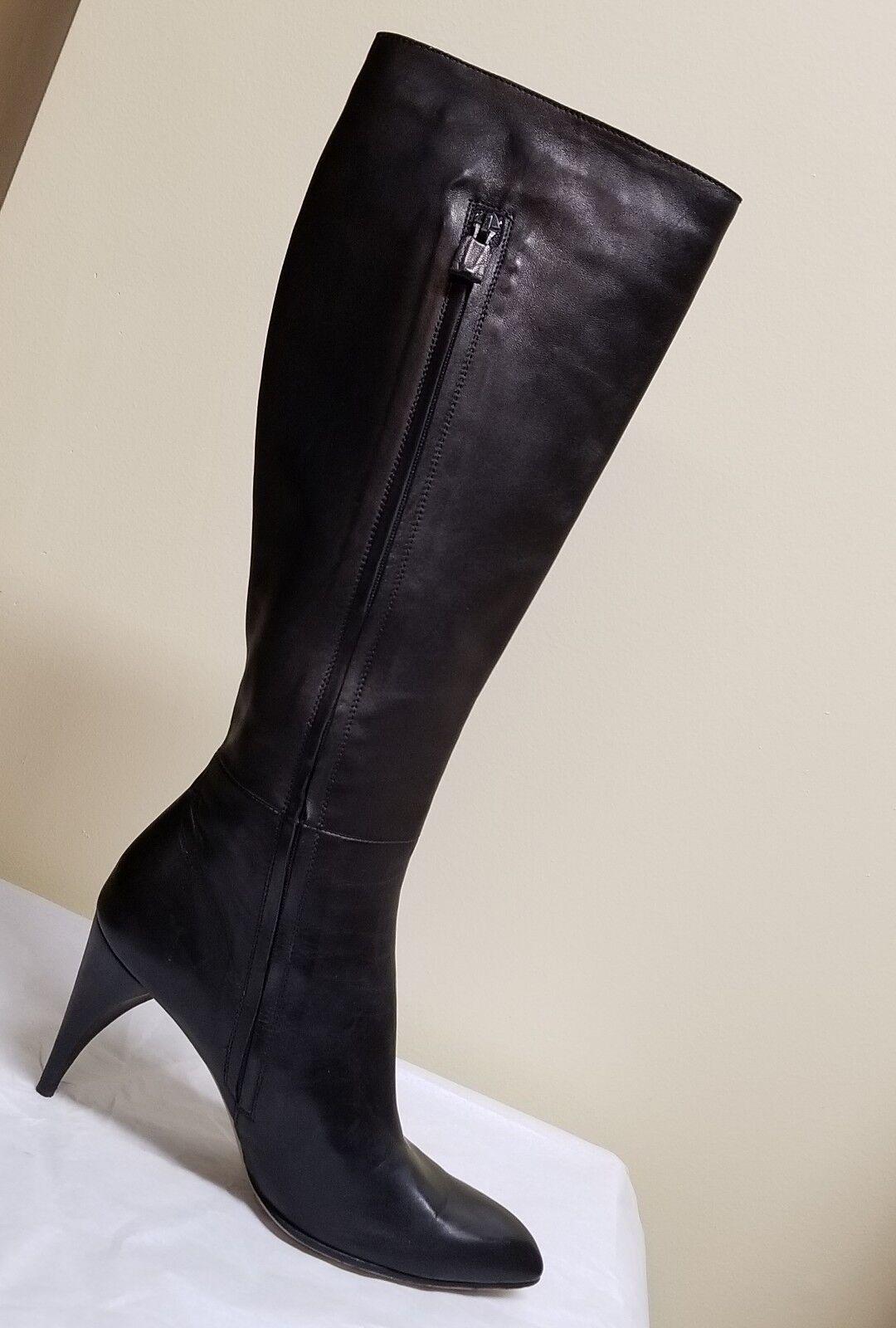 Máscara Máscara Máscara Nacional rodilla alta botas de cuero negro de diseñador, tamaño euro 38 (US 7.5)  precioso