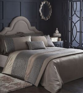 Rimini Brown Duvet Quilt Cover Embellished Bedding Set With