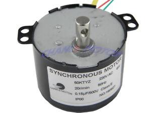 AC Motor 220V 50KTYZ 20RPM Synchronous Motor Geared 6W Torque 3.5Kg.cm