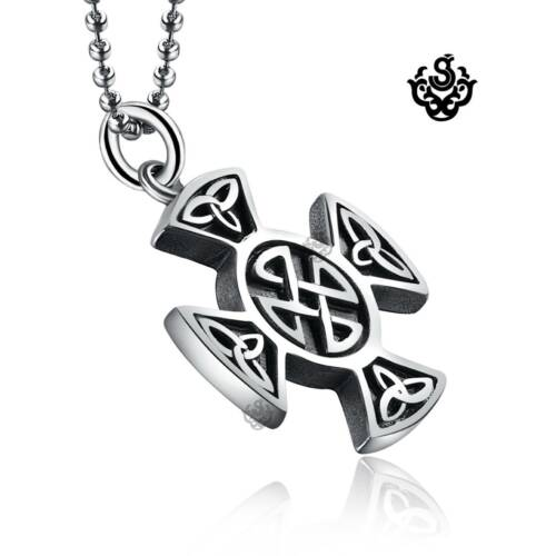 Silver funky cross pendant stainless steel solid ball chain necklace soft gothic