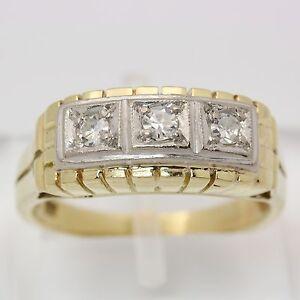 Antiker-Ring-in-aus-14kt-585-Gelb-Weiss-Gold-mit-Diamant-Diamantring-Goldring