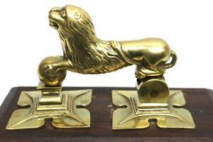 Antiker-Tuerklopfer-Jugendstil-Loewe-um-1900-Massiv-Messing