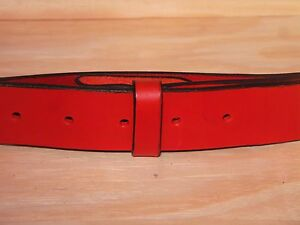eda118ab629e Red Leather Belt Strap 2 Inch Wide (50mm) Waist Size Mens Ladies ...