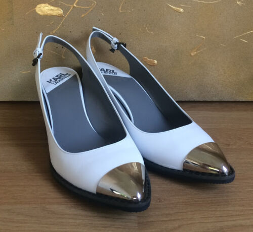 Nearly 37 tipped Karl Lagerfeld Metal White Eu Size Uk New Pumps 4 Leather qwFqxBAr