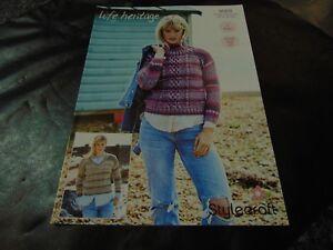 Stylecraft-Aran-Pattern-9568-Sweaters-32-34-48-50-ins