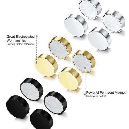 6 pcs Magnétique Aimant oreille Stud unisexe non Piercing Clip On Boucles d/'oreilles G