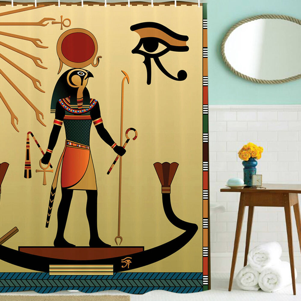 Ancien Dieu Egyptien Faith Culturel Art Polyester Imperméable Rideau Douche