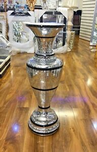 Italian Floor Standing Vase With Silver Amp Black Mirror