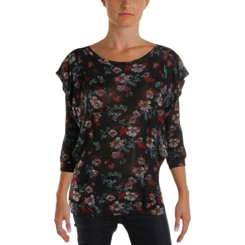 Free People Womens Black Floral Print Ruffled Boho Blouse Top XS BHFO 9869
