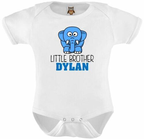Personalised Baby Vest Bodysuit Little Brother Elephant Babies Big Brother Gift
