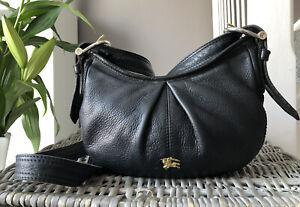 Lovely Genuine Burberry Black leather Cross Body Bag Shoulder Bag handbag Small