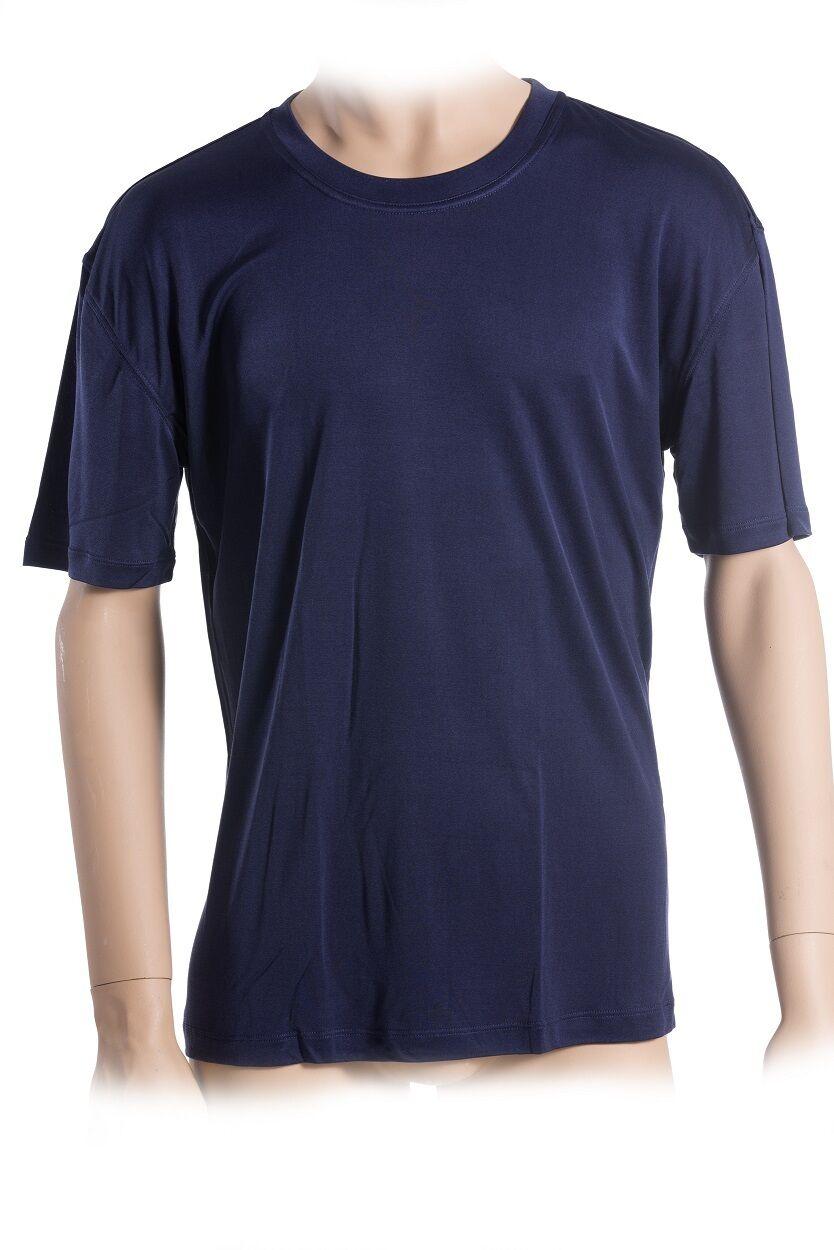 Basic T-hemd, 100% Seide, Interlock, Blau, M, SUPERIOR NATURALS