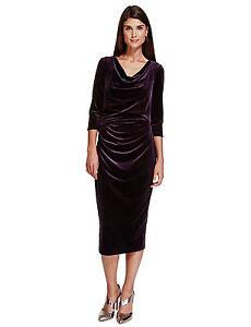 New-M-amp-S-Per-Una-Premium-Dark-Purple-Secret-Support-Velvet-Dress-Sz-UK-8