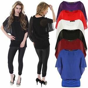 c87a9b4f7d1 Details about New Ladies Plus Size Blouse 2 In 1 Chiffon Twin Batwing Tops  8-26