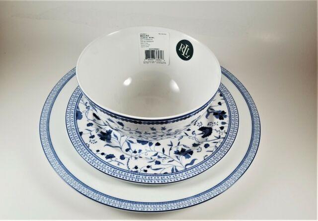 White Blue Porcelain Dinner Plates