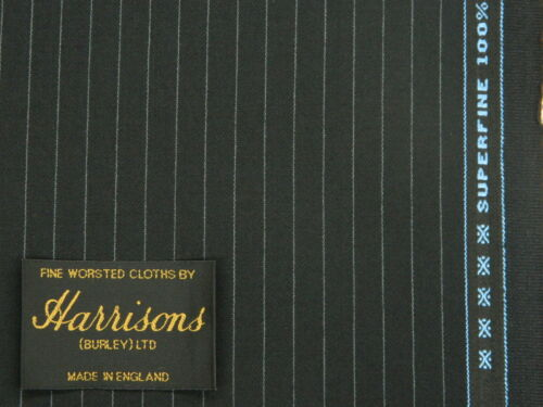SEMI MILLED BLACK PINSTRIPE SUPERFINE WOOL WORSTED SUITING FLANNEL 3.5MTRS