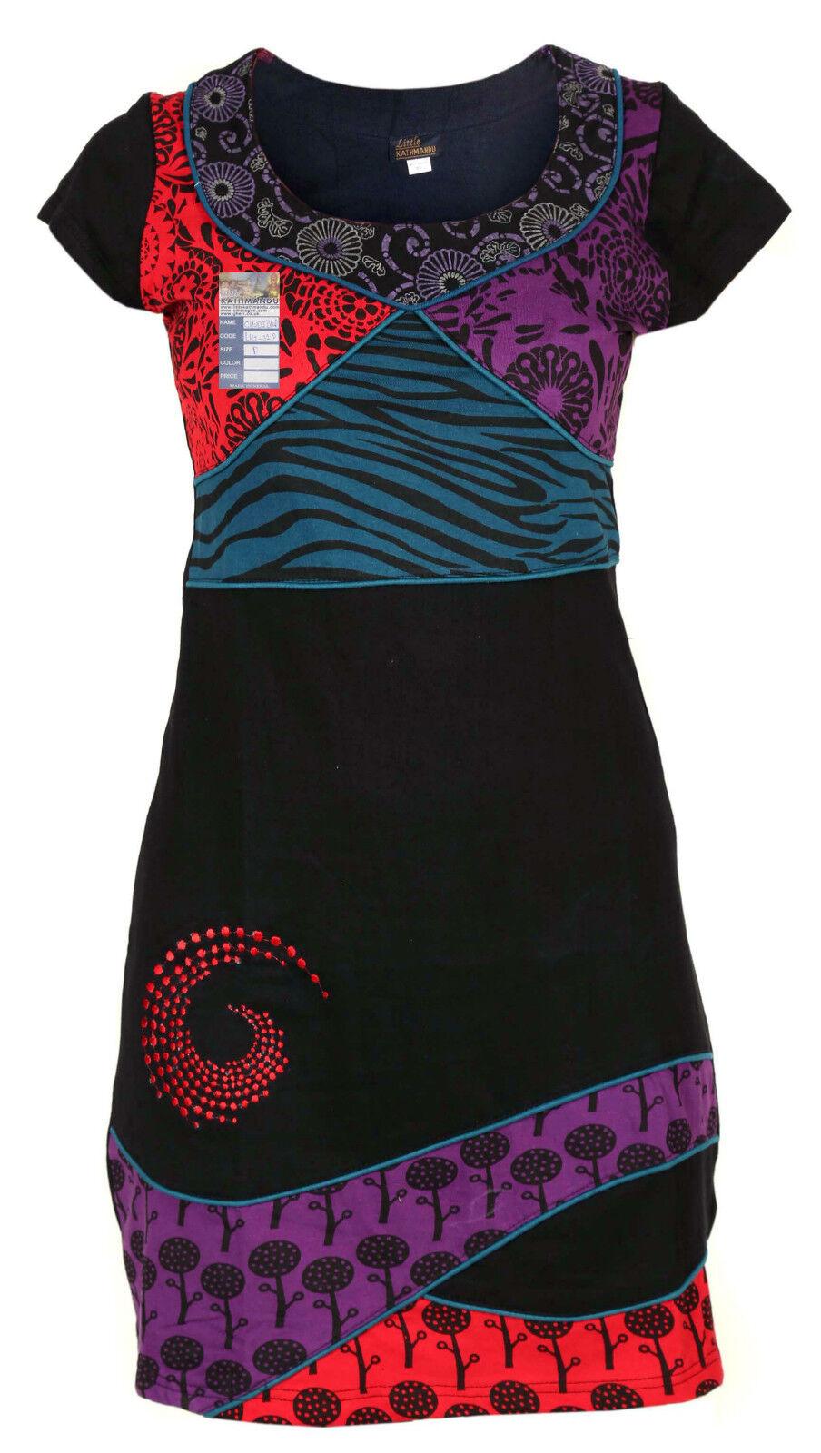 Hippie Boho algodón bordado étnico étnico étnico Patchwork Manga Corta Vestido Con Cuello 43293c