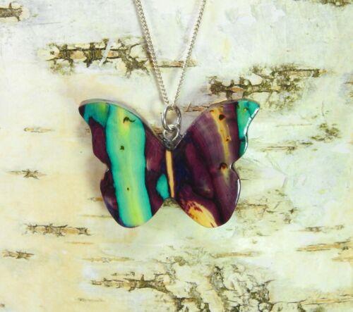 Heidekraut Schmetterling-Anhänger /& 925er Silber Halskette HANDARBEIT