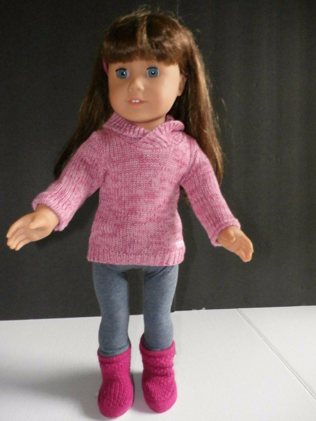 American Girl Doll JLY Truly Me Brunette azul Eyes + Cozy Sweater Outfit