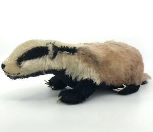 Steiff-Diggy-Badger-on-all-fours-Mohair-Plush-28cm-11in-long-1963-only-Vtg-no-ID