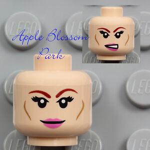 NEW Lego Light Flesh FEMALE MINIFIG HEAD - April Girl Pink Lips Tamina Smile