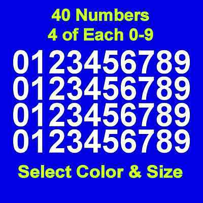 "0-9 Numbers Gold Sticker Vinyl Decals CHOOSE SIZE! 1/"" To 12/"" Set Of 40 V646"