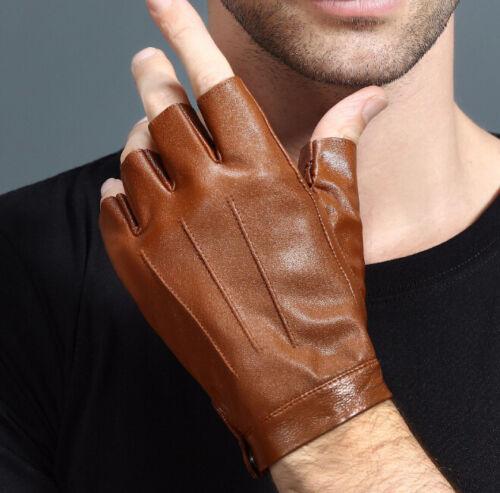 Men Women Leather Gloves Unisex Genuine Fingerless Mittens Half Finger Driving