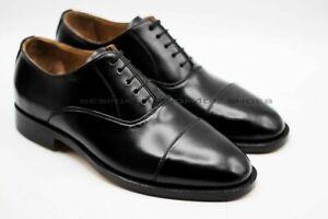 Hommes-Fait-a-la-main-Cuir-noir-veritable-Embout-Formel-Des-chaussures