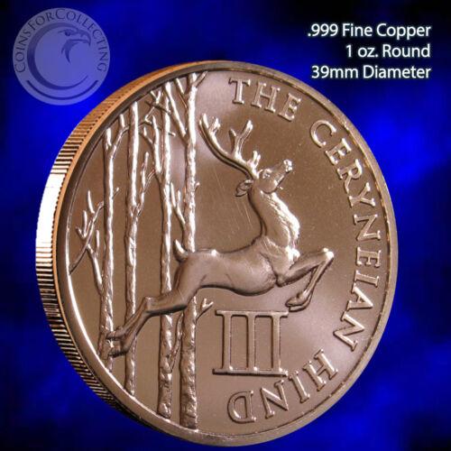 "/""Ceryneian Hind/"" 1oz .999 Copper Round 12 Labors of Hercules 12 Round Series #3"