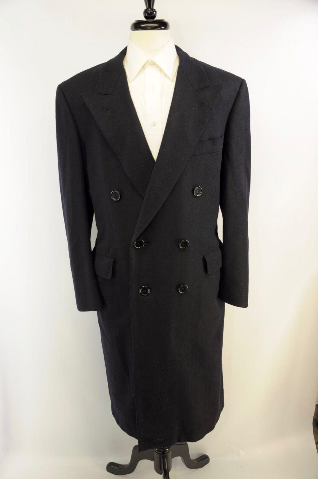 Recent Samuelsohn Peak Lapel Navy Blau Herringbone Pure Wool Overcoat 42R