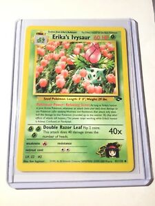 Sleeve 41//132 NM Erika's Ivysaur 1st Edition Gym Challenge Pokemon Card