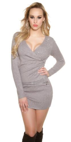Mini abito Maglione lungo donna pullover incrocio strass  scollo V portafoglio