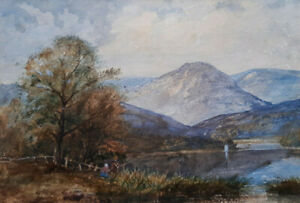 CONISTON-19TH-CENT-VICTORIAN-WATERCOLOUR-PAINTING-CUMBRIA-LAKE-DISTRICT-c-1860