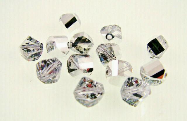 6 pieces Genuine Swarovski 5020 8mm Helix Crystal beads SILVER SHADE