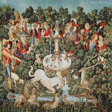 WALL JACQUARD WOVEN TAPESTRY The Hunt of Unicorn MEDIEVAL DECOR PICTURE