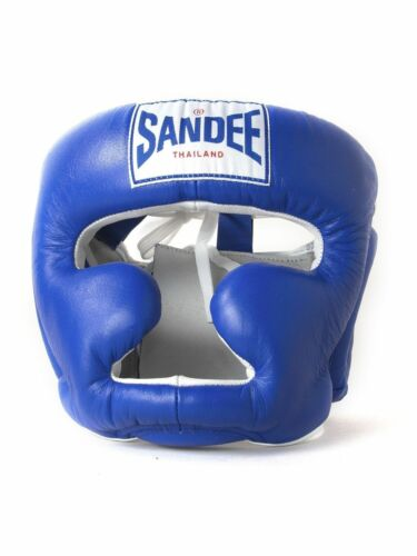Kids Sandee Closed Face Blue Synthetic Leather Head Guard Muay-Thai Boxing