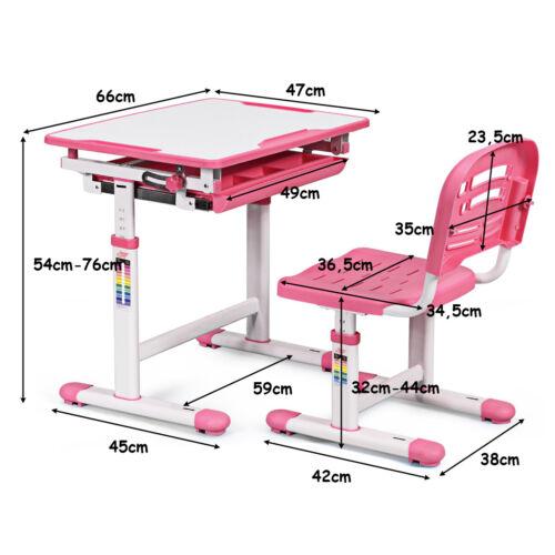 Kinderschreibtisch höhenverstellbar Schülerschreibtisch Kindertisch+Stuhl