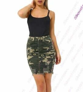 Womens Stretch Denim Cotton Skirt Camouflage Pencil Rip skirts Size 6 8 10 12 14
